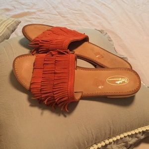 Seychelles orange/rust color sandals.